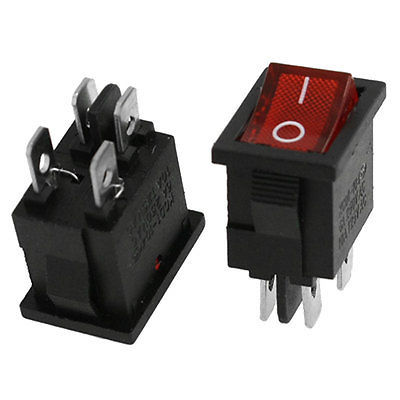 100 pcs 4 핀 ac 6a/250 v 10a/125 v 전원 빨간색 표시 dpst on/off 2 위치 보트 로커 스위치