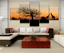 5 Piece Canvas Painting African Savannah Animals Cuadros Landscape Canvas Wall Art Home Decor For Living