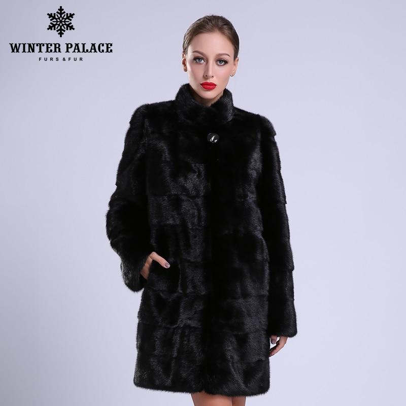 2018 Nouveau style de mode manteau de fourrure vison naturel stand Collier de bonne qualité de fourrure de vison manteau femmes naturel noir manteaux de fourrure