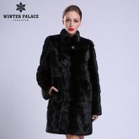 2018 New style fashion fur coat natural mink stand Collar good quality mink fur coat women natural black coats of fur