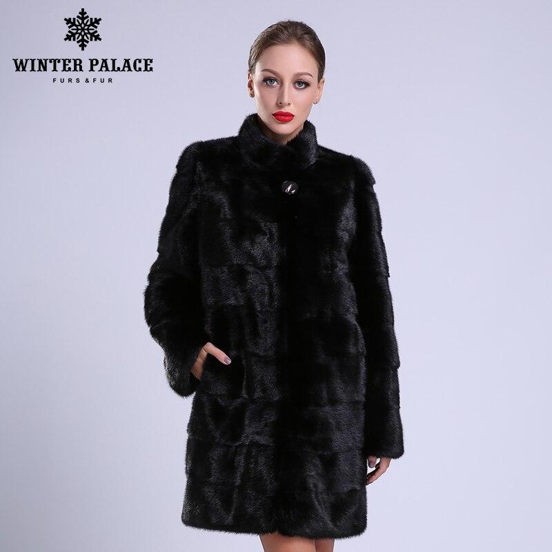 2018 Novo estilo moda natural gola de pele de boa qualidade mlnk mlnk C0ats de mlnk C0at mulheres natural preto