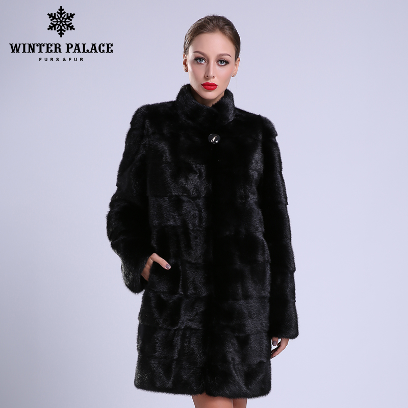 2018 nuevo estilo de moda abrigo de piel natural mlnk Collar de buena calidad mlnk abrigo de piel las mujeres negro natural abrigos de mlnk