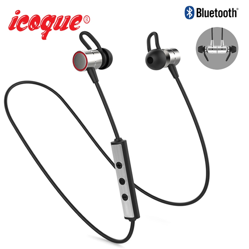 Icoque Metal Wireless Bluetooth Earphone with Mic Magnetic Headphones for iPhone Xiaomi Samsung Hifi Stereo Bluetooth Earphones picun p3 hifi headphones bluetooth v4 1 wireless sports earphones stereo with mic for apple ipod asus ipads nano airpods itouch4