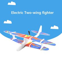 Electric glider DIY Biplane Glider Foam plane Powered Flying Plane Rechargeable Electric Aircraft Model Science Educational Toys(China)