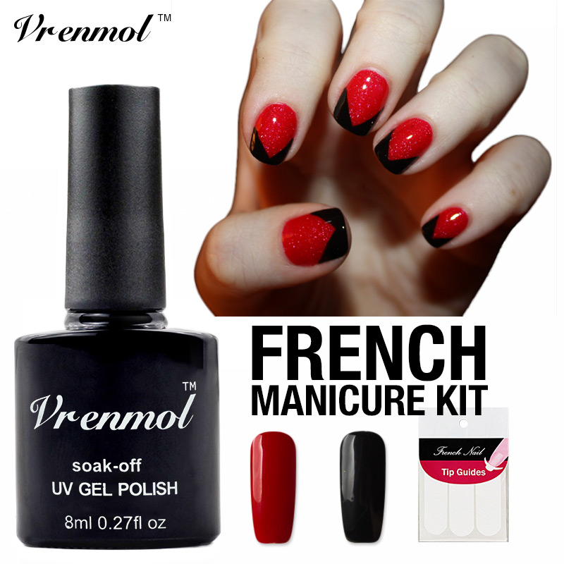 Vrenmol Red+black Color Gel Nail Polish+Gift for French Nail Sticker ...