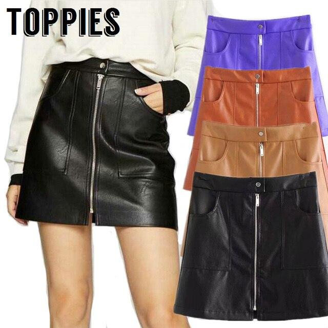 77cfa66b0944 Autumn Winter Women Black Camel PU Leather Skirt High Waist A-Line Mini  Skirt Front Zipper Sexy Skorts