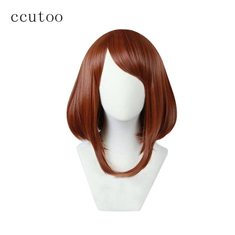 ccutoo My Hero Academia Boku no Hiro Akademia Uraraka Ochako Synthetic Short Brown Bobo Heat Resistant Cosplay Hair Wig