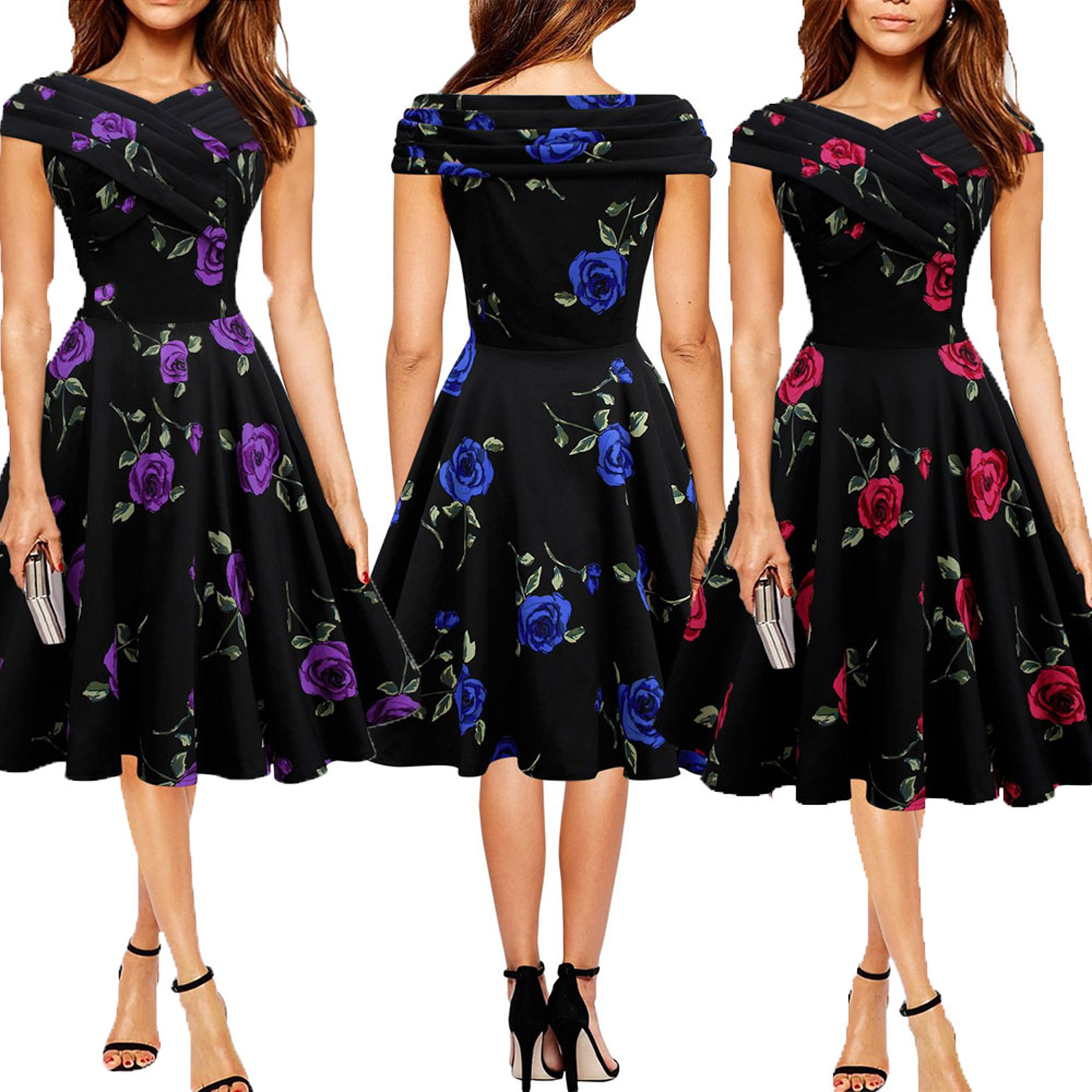 New Women Vintage Rockabilly Dress Slash Neck Floral Print Prom Gown Party Dresses  Retro Elegant OL Clothes-in Dresses from Women s Clothing on ... b5bdbede1