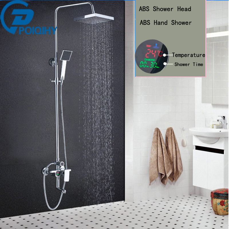 Shower Faucet Chrome Bathroom Rainfall Temperature Screen Shower System Set Faucet Tub With Handheld Sprayer Bathroom Mixer Tap
