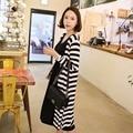 2 pcs venda quente cardigan + vestidos de maternidade vestidos de algodão encabeça conjunto roupas gravidez plus size stripe dress vestidos para l grávida