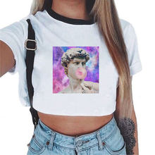 2019 David Michelangelo Korte Mouw Prinr Standbeeld Kauwgom Kauwgom Print Fun Harajuku Tshirt Crop Top Tumblr T-shirt(China)