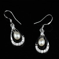 Sterlings Silver 925 Chandelier Pearl Dagnle Earrings Natural Freshwater Drop Pearl Cz Diamond Pearl Jewelry Birthday