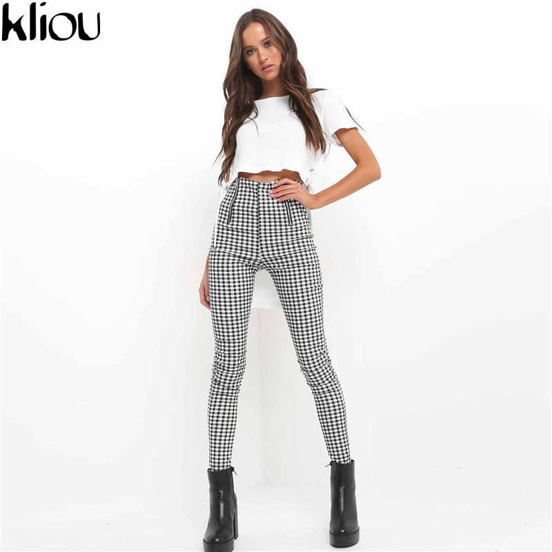 Kliou 2019 Grey White Plaid Pants Sweatpants Women Side Stripe Trousers Casual Cotton Comfortable Elastic Pants Joggers