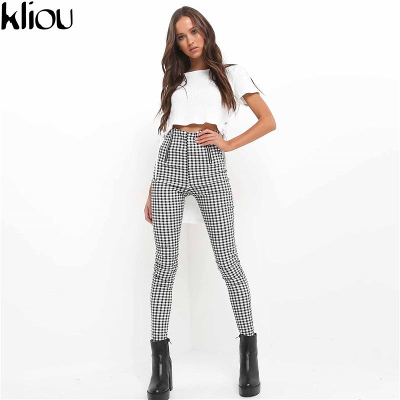 Kliou Gray White Plaid Pants Sweatpants Women Side Stripe Trousers Casual Cotton Comfortable zippers high waist Pants Joggers
