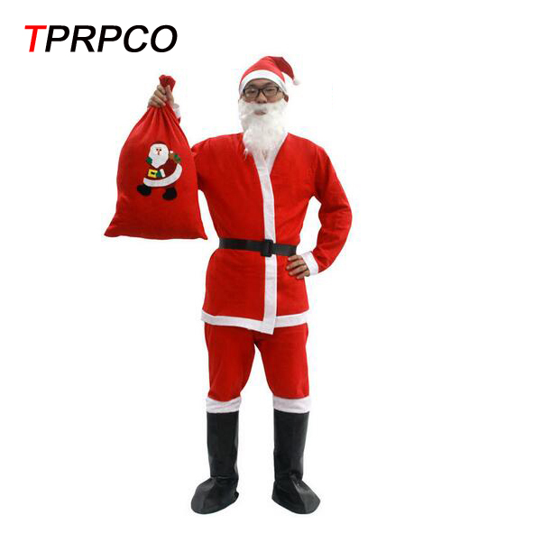 TPRPCO 7 in 1 Red Mens Christmas Santa Claus Costumes For Men Adult Novelty Cloth Santa Claus Costume Clothes Suit N1371