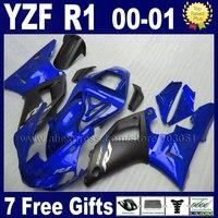 7 подарки пользовательские комплект обтекателей для 2000 2001 YAMAHA YZF R1 00 01 R1 Обтекатели YZF1000R Матовый Черный Запасные части для кузова