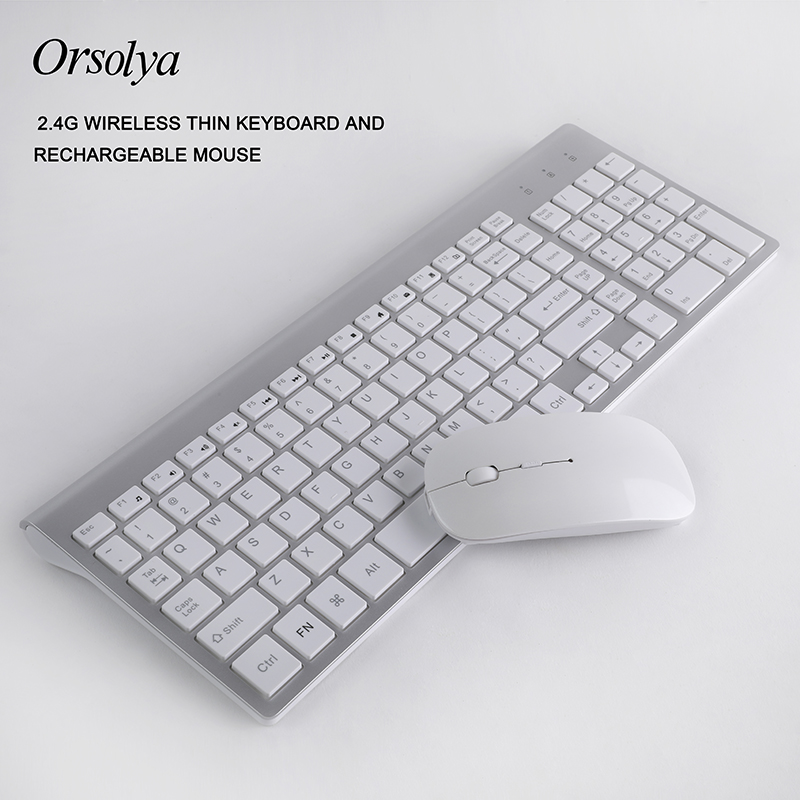 Wireless Thin Keyboards And Rechargeable Mouse Combo Orsolya Whisper-quiet Compact Keyboards And Mouse Combo Silver+white(China)