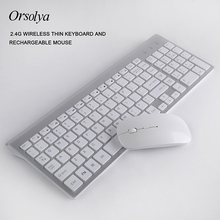 2.4G Wireless Thin Keyboard and Rechargeable Mouse Combo Orsolya Silent key For Computer Notebook Desktop PC,Home Office wireless keyboard and mouse combo usb port 2 4ghz keyboard mouse set silent keyboard for office pc computer desktop