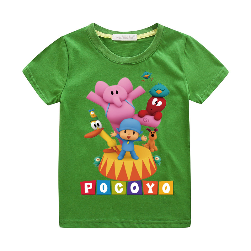 Girls Cute Cartoon Pocoyo Print T-shirts Costume Boys Short Sleeve Tshirts Clothing Children Summer Casual Tee Top Clothes ZA064 (1)
