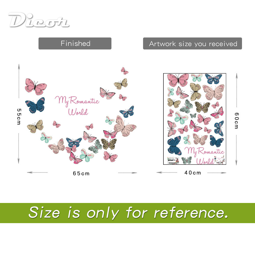 2019 New Butterflies Wall Decal Sticker Home Decor DIY Removable Art Vinyl Mural For Refrigerator Kids Room Sliding Door QT737KJ in Wall Stickers from Home Garden