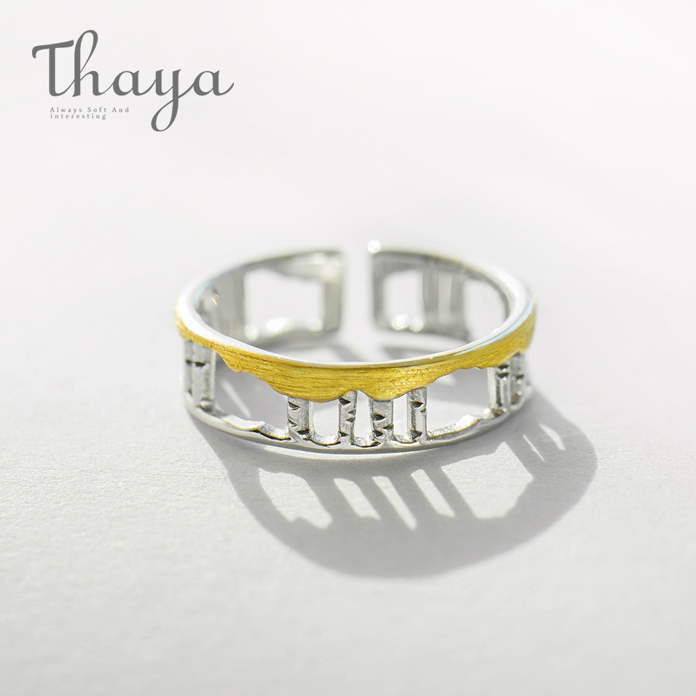 Thaya Birch Forest Design Rings s925 Silver Hollow Golden Leaves Finger Ring for Women Ladies Love Story jewelry gift mariposa en plata anillo