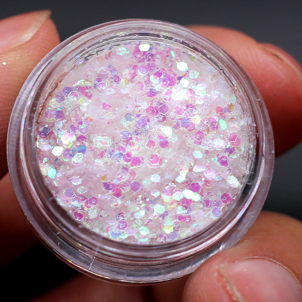 Holographic Pigment Decoration Nail-Gel Sequins-Flakes Round Star Heart Moon AB 1pcs