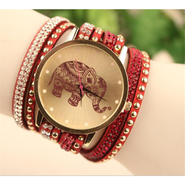 Aimecor Fashion Women Bracelet Watch Ladies Watches Elephant Pattern Round Case