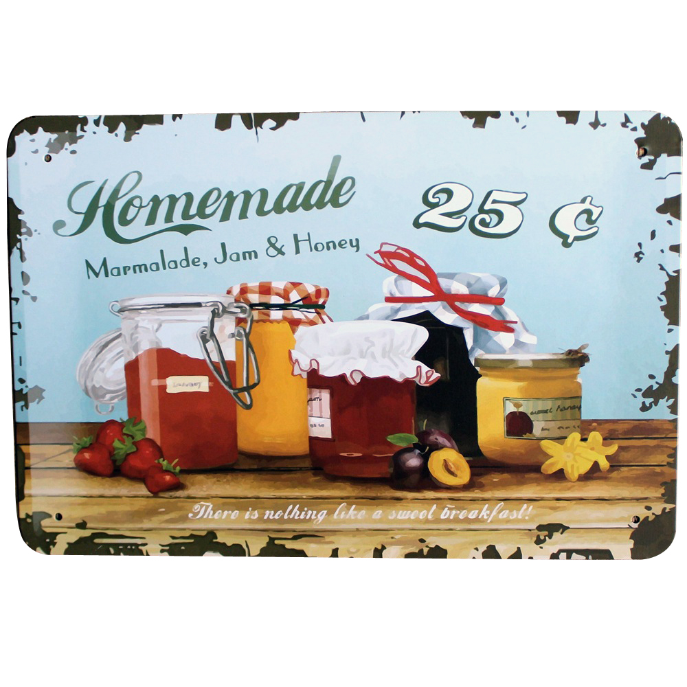 HOMEMADE SAUCE Tin Plaque HDLJ1-N Rustic Decorative sign showing Marmalade Jam and Honey for Hotel Restaurant Food Court 20x30cm