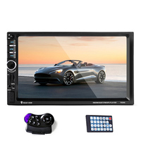 2 Din Touchscreen Auto Car Radio FM Bluetooth Audio Stereo 1080P Video Player GPS Navigation with Steering wheel Remote Control