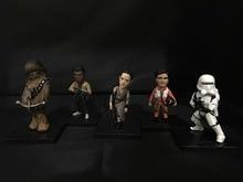 5 pçs/set Star Wars: a Força Desperta Chewbacca Rey Finn Poe Dameron Capitão Phasma PVC Action Figure Collectible Modelo Toy 10 cm