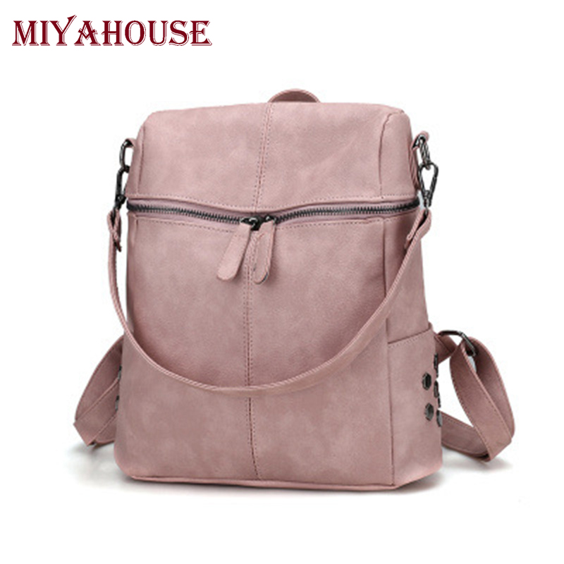 Miyahouse Female Simple Style Pu Leather Backpacks Teenage Girls Fashion Shoulder School Bags Women Vintage Solid Travel Bags