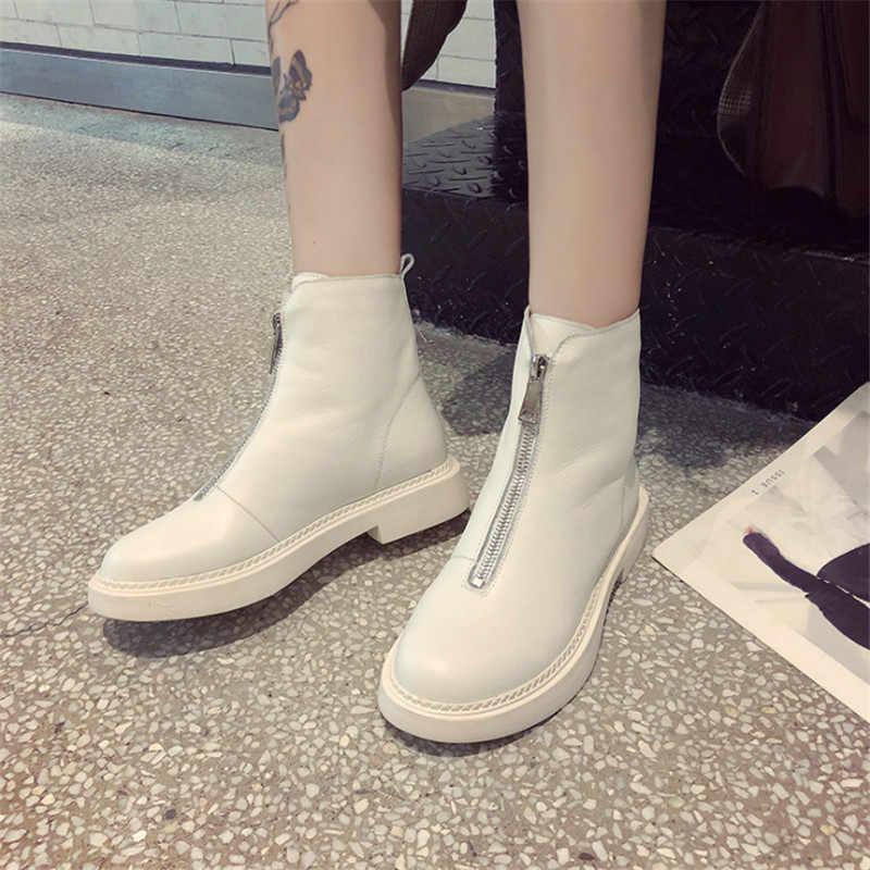 2019 yeni rahat kadın ayakkabı kış sıcak deri kısa tüp Martin çizmeler moda trendi rahat yumuşak vahşi sıcak kadın çizmeler