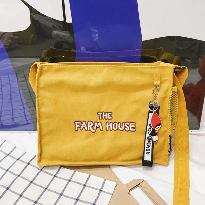Women Canvas Bag Female Pure Cotton Eco Cloth Crossbody Shoulder Bags Ladies Shopping Bag Pink Handbag Totes For Girls