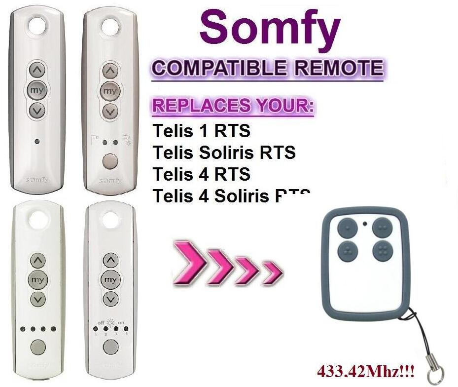 For Somfy Telis 4 RTS, Somfy Telis 4 Soliris RTS compatible remote control 433,42Mhz somfy telis 4 rts somfy telis 4 soliris rts compatible garage door remote control 433 42mhz free shipping