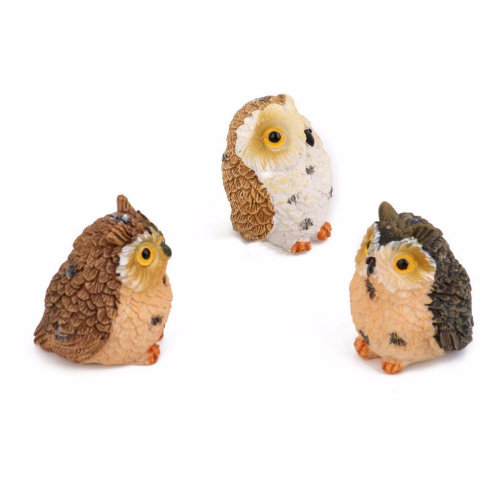 Hot Sale Moss Terrarium Decor Cute Owls Animal Resin Miniatures Figurine Craft Bonsai Pots Home Fairy Garden Ornament Decoration
