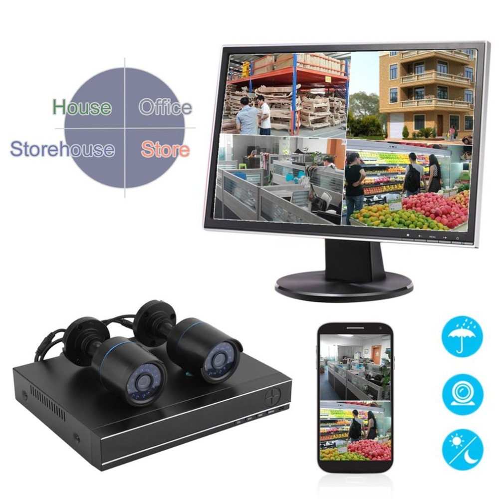 2 Pcs 720P HD Video Monitoring Camera With HDMI DVR Outdoor Indoor Camera 1500TVL Home Security Guard System