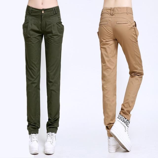 2018 Summer Khaki Pants For Women Black Cargo Pants Slim fit Ladies  Trousers Casual Street Wear 4a30bc1e6a