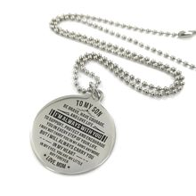 TO MY SON I'M ALWAYS WITH YOU CUSTOM ENGRAVING PENDANT NECKLACE FOR HIM BIRTHDAY STUDY HOLIDAY ANNIVERSARY GIFTS FROM MOM(China)