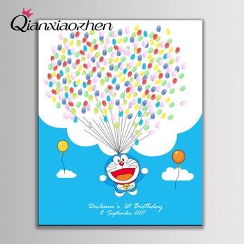 Qianxiaozhen Personalized Doraemon Fingerprint Guest Book Wedding Decoration Birthday Party Decorations Kids Adult Decor
