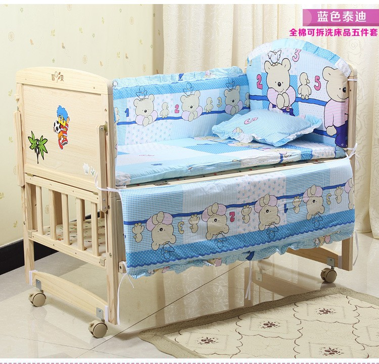 Promotion! 7pcs Baby Bedding set girls cot set Embroidery Quilt Sheet (bumper+duvet+matress+pillow)