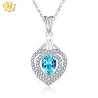 Hutang Kamień Biżuteria Naturalny Niebieski Topaz Solidna 925 Sterling Silver Serce Wisiorek i Naszyjnik Kamień Grzywny Biżuteria Dla Kobiet Prezent