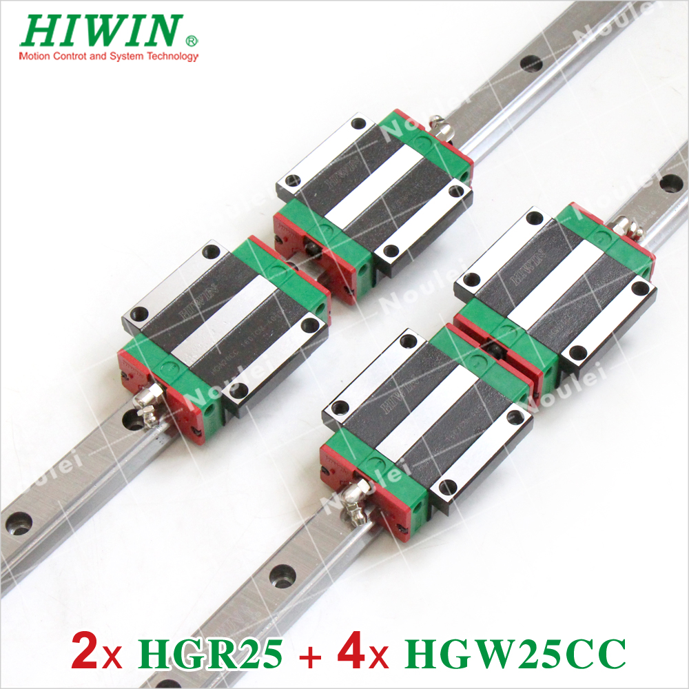 Linear Guide Rail 2pcs 100% HIWIN HGR25 L 1500mm and 4pcs HGW25CA HGW25CC Blocks for CNC Router noulei hgw25cc hgw25ca slide block with 1500mm linear guide rail hgr25 for cnc z axis hgw25 guia