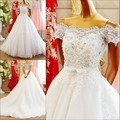 Elegant 2016 Design Sheer Lace Luxuries Ball Gowns Wedding Dresses Off shoulder Short sleeve Vestido De Noiva women Wedding Gown