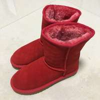 MBR Classic Waterproof Genuine Cowhide Leather Snow Boots 100 Wool Women Boots Warm Winter Shoes For