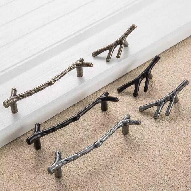 Cabinet Pulls Constructive Tree Branch Furniture Handle 96mm 128mm Black Silver Bronze Kitchen Cabinet Handles Drawer Knobs Door Pulls Yh1595