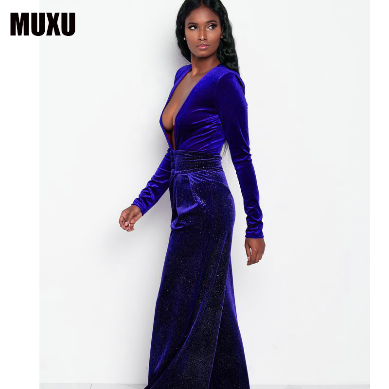 MUXU plus size jumpsuit long sleeve v neck jumpsuit europe and the united states jumpsuits rompers velvet bodysuit women rompers