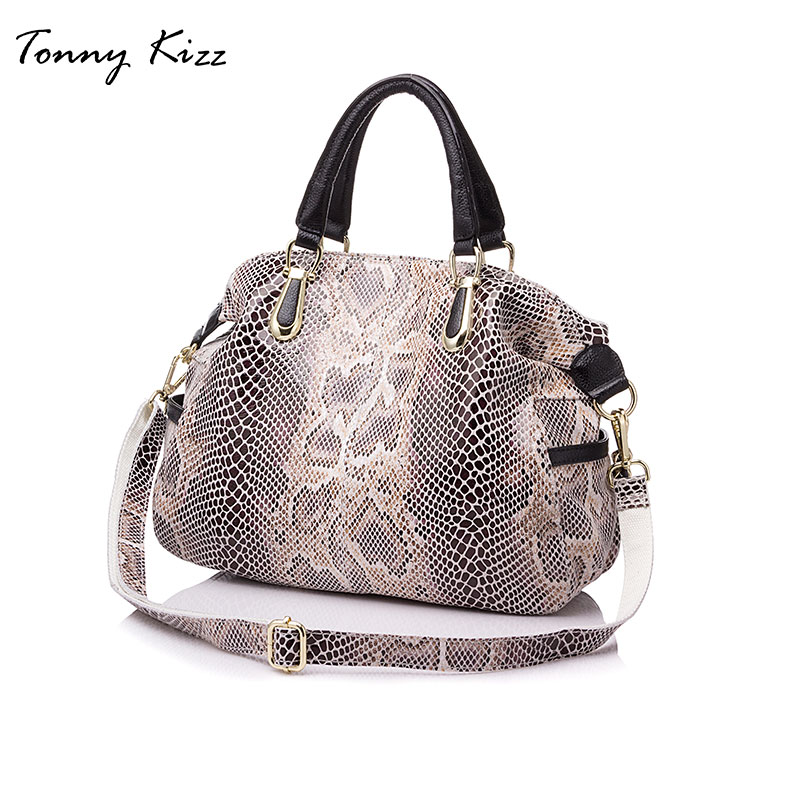цена women Casual tote bag crossbody genuine leather handbag fashion serpentine prints woman handbags large shoulder bags hobos TK