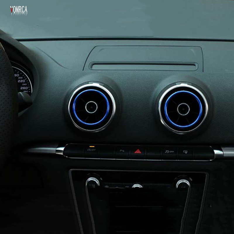 For AUDI A3 <font><b>S3</b></font> 2013-2016 Aluminum Alloy Air Outlet Decorative Ring Car Outlet <font><b>Exhaust</b></font> Cover Sticker Decorative Accessories image