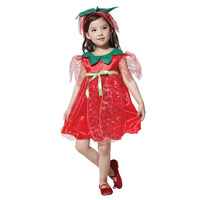 Halloween Children's Kids Costumes Performance Clothing Red Rose Fairy Princess Dress Fancy Dress girls for Purim party