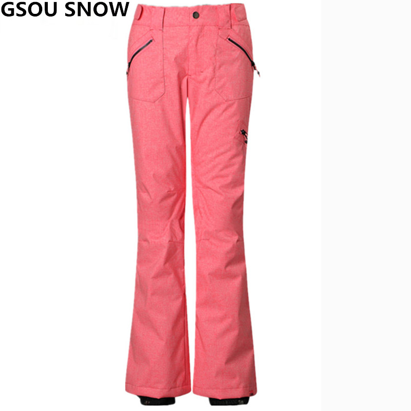 Gsou Snow Winter ski pant women Professional thicken warm Snow Snowboard Pants female waterproof skis trousers Sport skiing wear gsou snow brand ski pants women waterproof snowboard tights slimming skis trousers winter outdoor sport mountain skiing pants